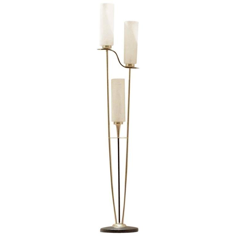 mid century french lighting design maison arlus glass and brass floor lamp at 1stdibs. Black Bedroom Furniture Sets. Home Design Ideas