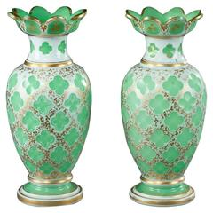 Pair of Napoleon III Vases in Opaline Overlay