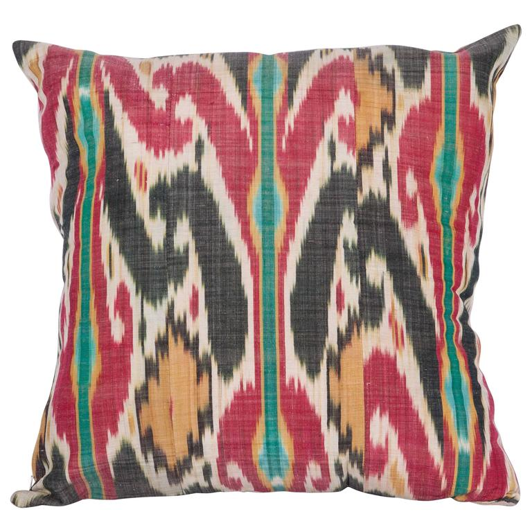 Antique Pillow Made Out of a 19th Century Uzbek Ikat For Sale