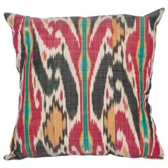 Antique Pillow Made Out of a 19th Century Uzbek Ikat