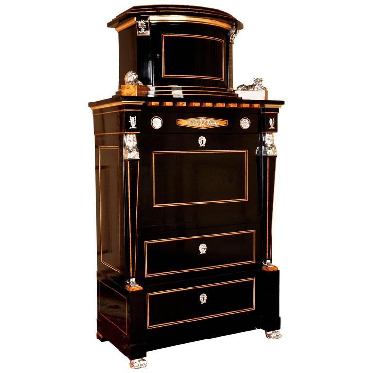 20th Century Empire Style Courtly Lion Secretaire For Sale