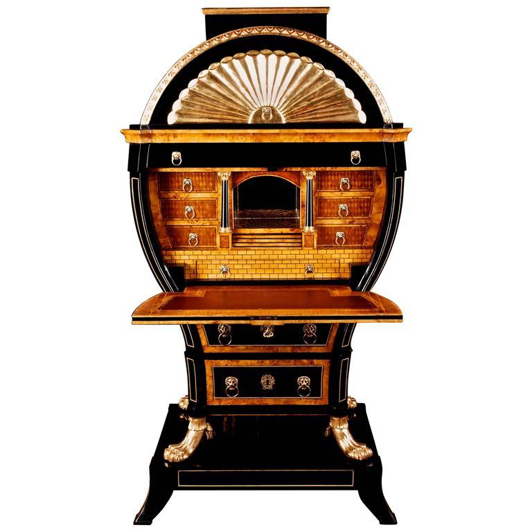 20th Century Viennese Biedermeier Style Lyre Secretaire For Sale