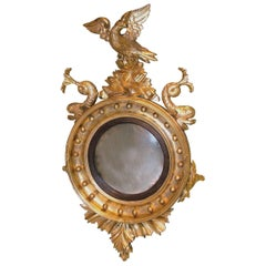 19th Century Carved Giltwood Convex Mirror