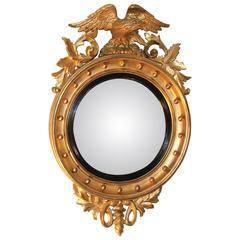 19th Century William IV Giltwood Convex Mirror