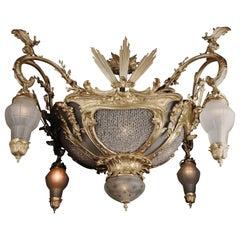 20th Century Louis XV Style Cast-Bronze Candelabra Chandelier