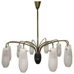 Mid-Century Stilnovo Style Brass and Glass Tube Chandelier