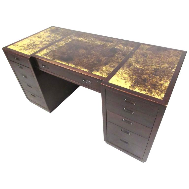 Dunbars Faux Tortoise Shell Leather Top Desk