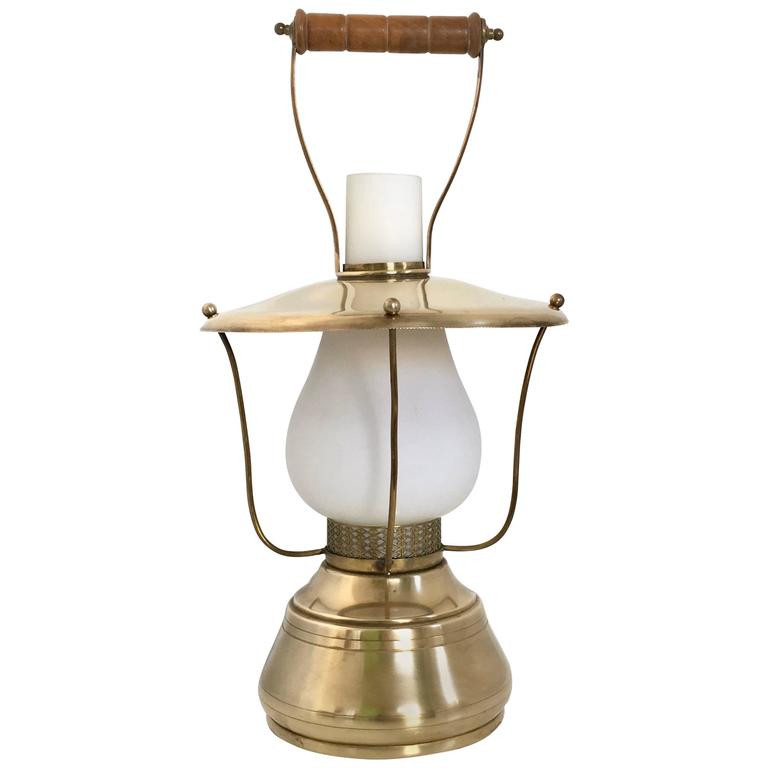 Italian Lantern Table Lamp, 1950s For Sale