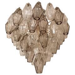 Venini Carlo Scarpa Murano Glass 1960s, Flush Pendant Chandelier