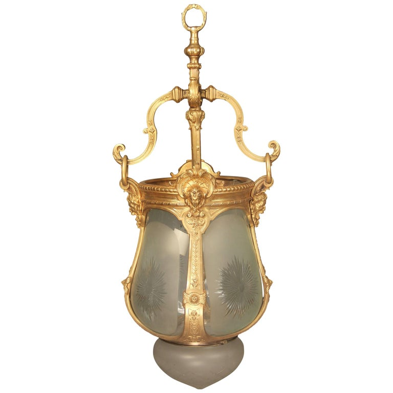 Late 19th Century Gilt Bronze and Cut-Glass Hall Lantern For Sale
