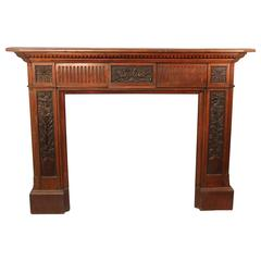 Late 19th Century Louis XVI Style Carved Wood Fireplace Surround