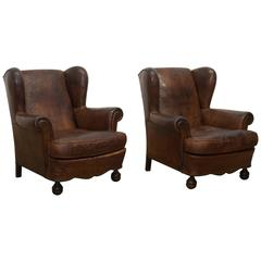 French 1930s Pair of Leather Wing Chairs