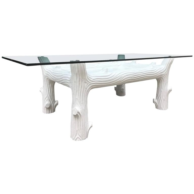 White Vintage Wood Coffee Table Manner Of John Inson For