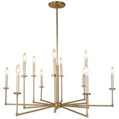 Twelve-Light Solid Brass Chandelier