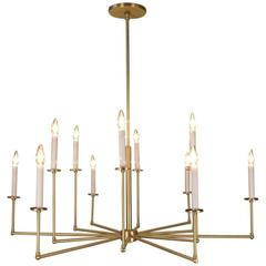 Twelve-Light Solid Brass Chandelier