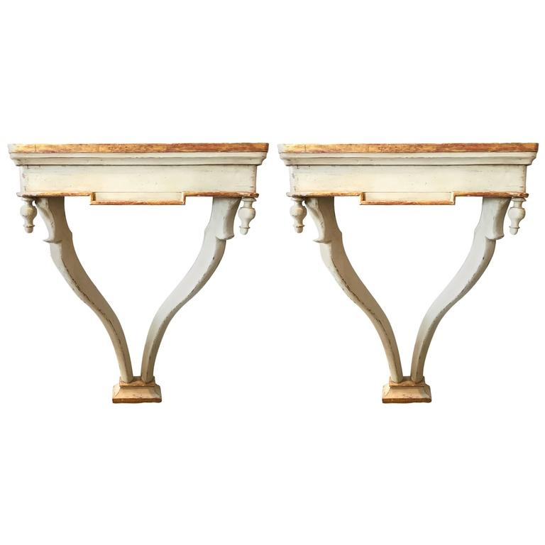 19th Century Pair of Paint and Gilt Console Tables