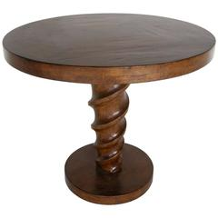 Dos Gallos Custom Walnut Cork Screw Pedestal Side Table