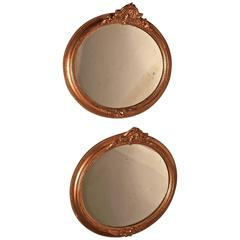 Rare Pair of 19th Century Regency Style Oval Gilt Mirrors