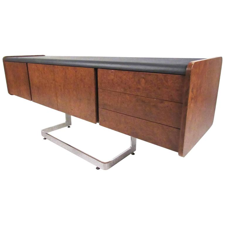 Ste. Marie & Laurent Burl Wood and Chrome Credenza For Sale