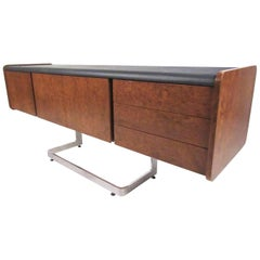 Ste. Marie & Laurent Burl Wood and Chrome Credenza