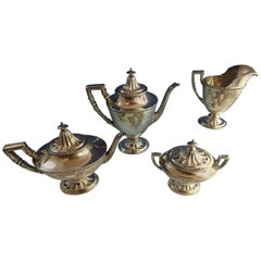 Juliet by Wallace Sterling Silver Four-Piece Tea Set, Beautiful Set, Hollowware