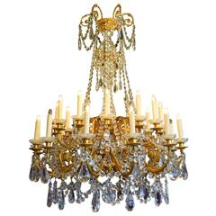 Antique Chandelier, Gilt Bronze and Crystal