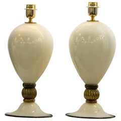 Pair of Veronese Lamps, Incamiciato Ivory with Black/Gold Accents, Alberto Donà