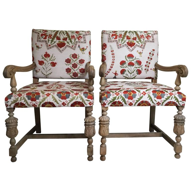 Marvelous Pair Of Antique Suzani Armchair For Sale