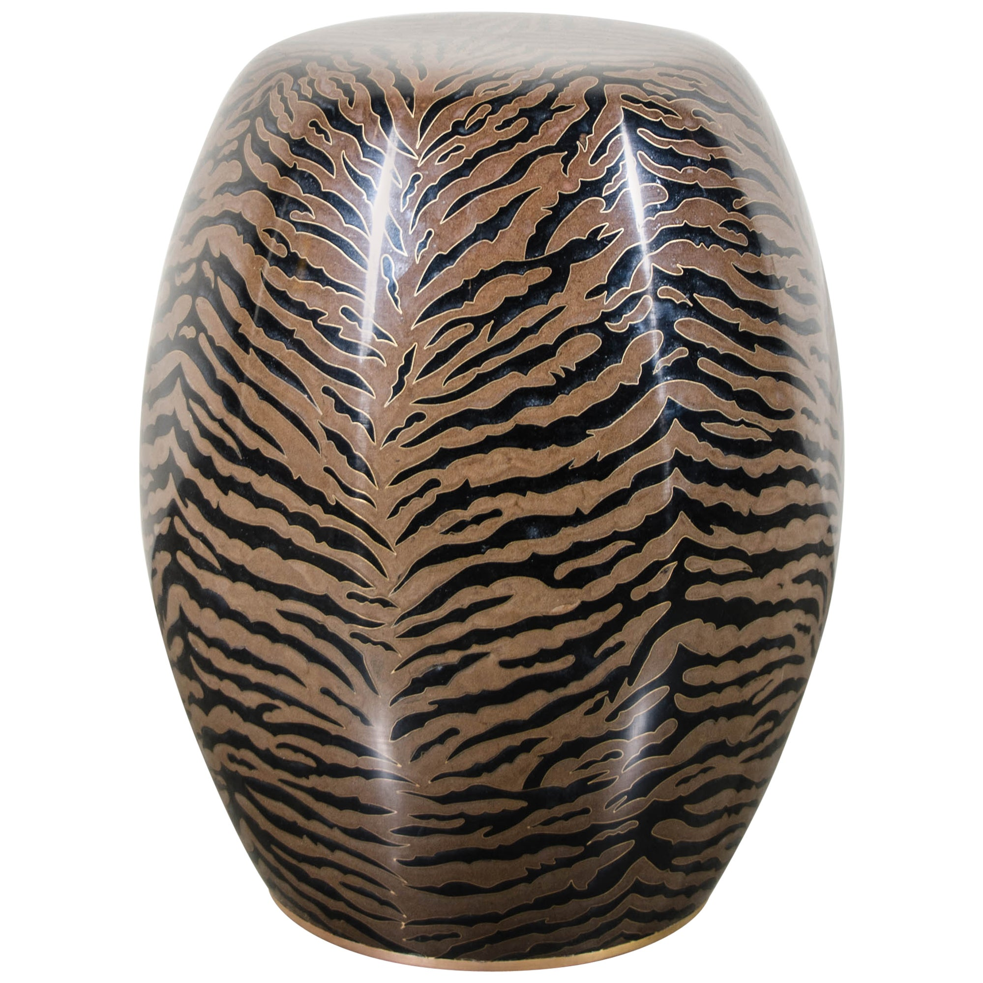 Tiger Skin Cloisonné Drumstool by Robert Kuo, Limited Edition