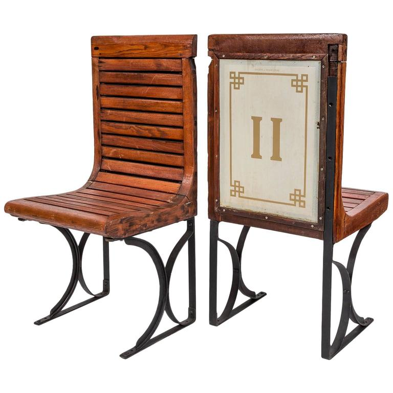 Rare Pair of 1920s Second Class Paris Metro Chairs with Enamel Backing 1