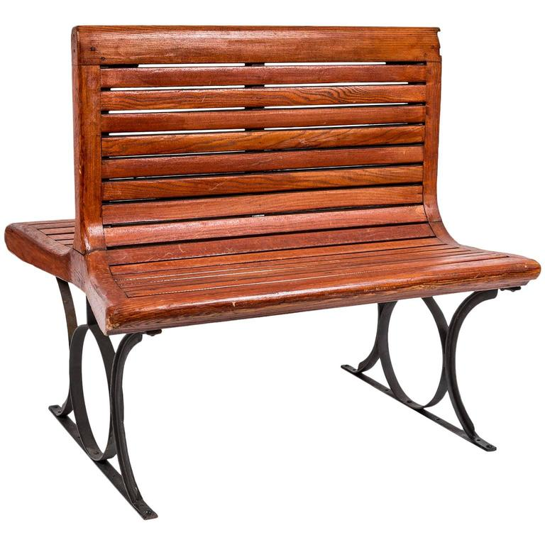 Rare 1920s French Paris Metro Second Class Double Sided Wooden Slatted Bench For Sale