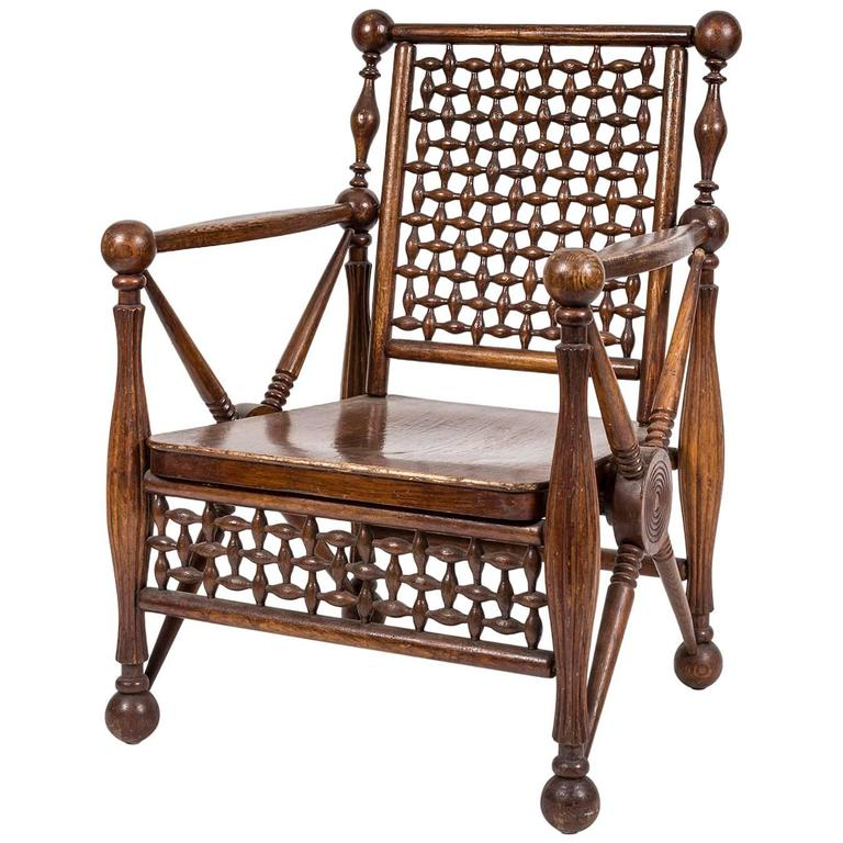 Arts and Crafts Period Oak Lattice Fretworked Armchair 1