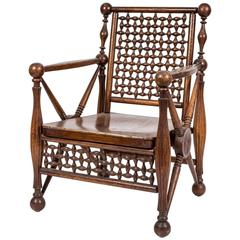 Arts and Crafts Period Oak Lattice Fretworked Armchair