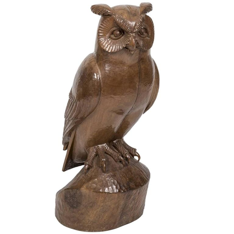 "Owl ""Hibou"" Carved Rosewood Bird Sculpture by French Artist François Galoyer 1"