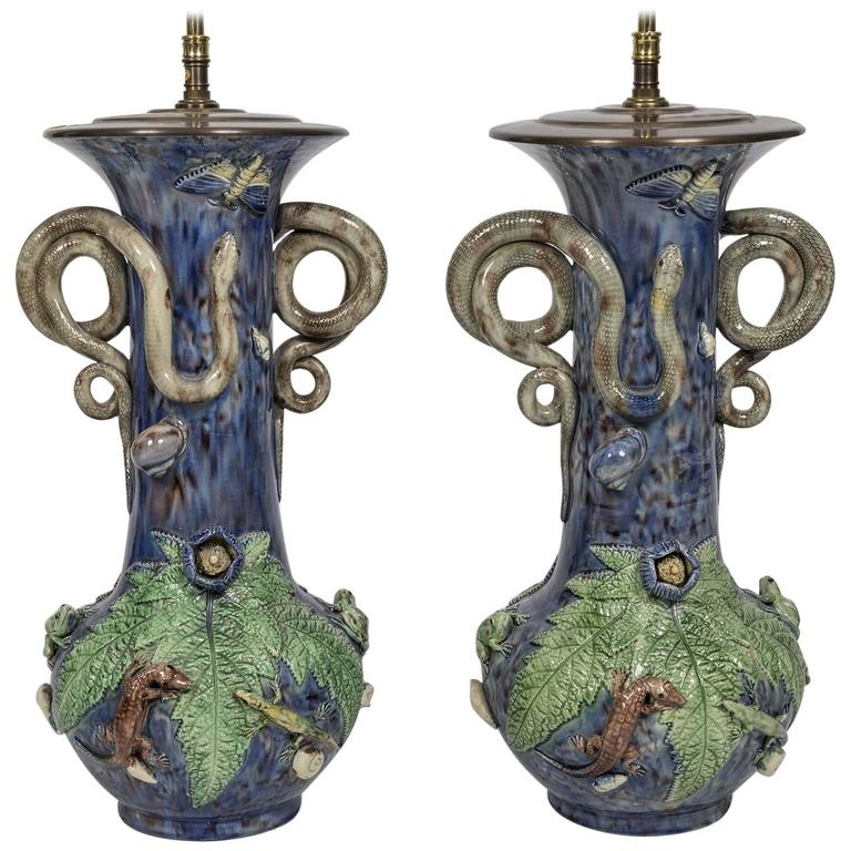 Majolica Electrified Vase Lamps with Snake Handles, Frog and Lizard Decoration For Sale