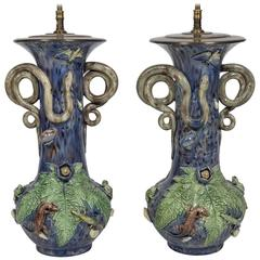 Majolica Electrified Vase Lamps with Snake Handles, Frog and Lizard Decoration