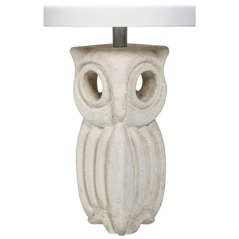 Lantern Owl Sculpted and Signed in Limestone by Albert Tormos, French, 1970s 1