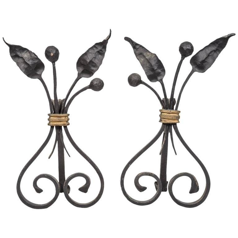 Pair of 1940s, French Forged and Gilt Flower Bunch Andirons 1