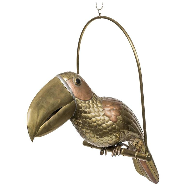 Sergio Bustamante Brass and Copper Perched Parrot Hanging Bird Sculpture For Sale