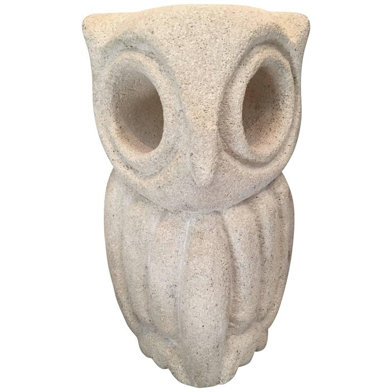 Lantern Owl Lamp Sculpted in Limestone and Signed by Albert Tormos, Electrified 1