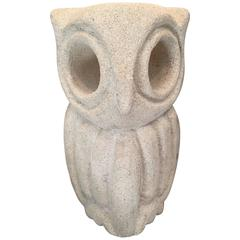 Lantern Owl Lamp Sculpted in Limestone and Signed by Albert Tormos, Electrified
