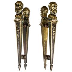 French 19th Century Brass Pharmacy Door Esculape Handles 'Greek God of Healing'