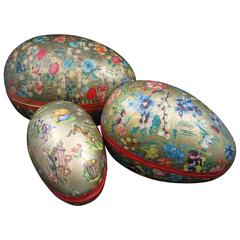 German Papier-Mâché Easter Holiday Egg-Shaped Ornament Candy Containers, S/3