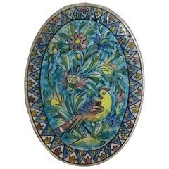 Vintage Persian Oval Ceramic Tile