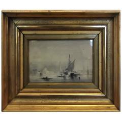 Harbor Scene Watercolor by James Hamilton 19th Century