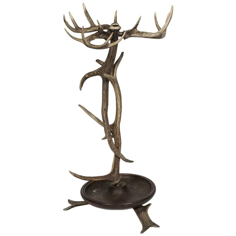 Black Forest Style Antler Umbrella Stand from a 1920s Adirondack Great Camp For Sale