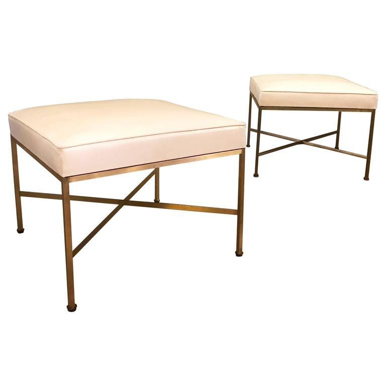 Pair of Brass Model 1306 Ottomans by Paul McCobb for Directional