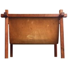 Danish Mid-Century Teak and Leather Magazine Rack from Skjode, 1950s