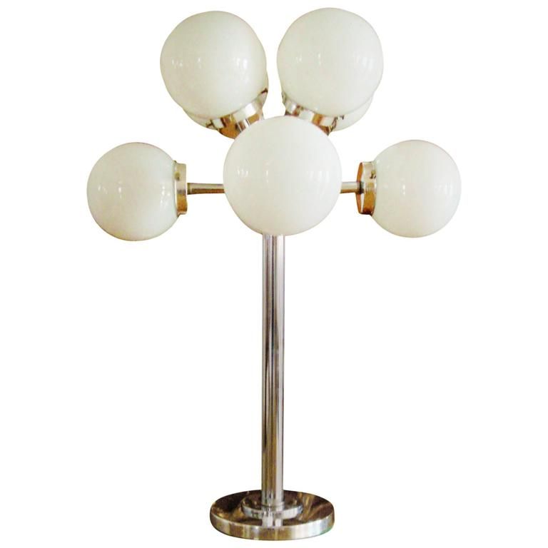 Monumental American Space Age Chrome Eight-Branch Table Lamp with Glass Globes