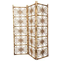 Mid-Century Rattan Screen